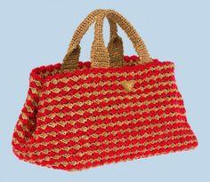 Prada, handbag in rafia crocheted