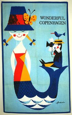 Wonderful Copenhagen by IB Antoni Tea Towel - Vintage Danish Artist Design The Mermaid and the Tourist - Made in Denmark