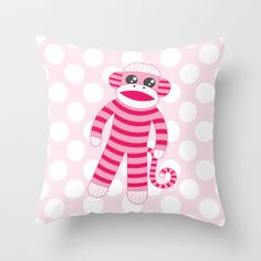 """Pink Polka Dot Sock Monkey Throw Pillows & Covers (16""""x16"""", 18""""x18"""", 20""""x20"""") $20 - $35 - Super cute for a little girl's room or the baby's nursery!"""