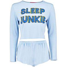 Boohoo Parker Sleep Junkie Long Sleeve Top And Short Night Set (104.015 IDR) ❤ liked on Polyvore featuring intimates, sleepwear, pajamas, pyjamas, tops, lullabies, long sleeve sleepwear, long sleeve pyjamas, long sleeve pajamas and short pyjamas