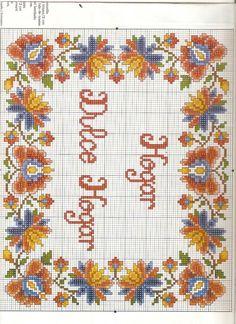 Home sweet home Cross Stitch Pillow, Cross Stitch Borders, Cross Stitch Designs, Cross Stitching, Cross Stitch Embroidery, Cross Stitch Patterns, Blackwork Patterns, Embroidery Patterns, Flower Painting Canvas