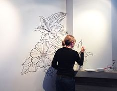 black and white flower mural - Google Search