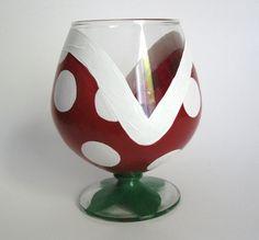 Piranha Plant Wine Glass - One Hand Painted Mario Inspired Glass