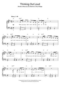 ed sheeran piano sheet music thinking out loud - Google Search