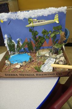 """This student chose to make a diorama about the crash in the book """"Hatchet"""". Notice the details."""
