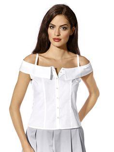 Bluse mit sexy Carmenausschnitt und silberfarbenen Knöpfen. Sehr figurbetonte Form, Länge in Gr. 38 ca. 56 cm Obermaterial: 97% Baumwolle, 3% Elasthan, waschbar...