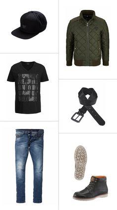"""Das """"Outfit of the day"""" des OTTO Facebook-Teams ist ein echtes Statement für den modernen Mann: Die Steppjacke in olivgrün wirkt einen Touch eleganter als die klassische Bomberjacke und macht das Outfit aus dem Shirt mit Mottoprint und der klassischen Slim-fit bereit für alle Anlässe."""
