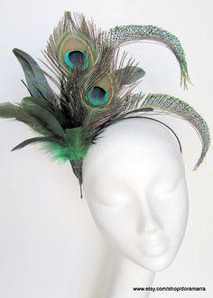 Pluma del pavo real Fascinator-años 1920 aleta-Derby-Tea