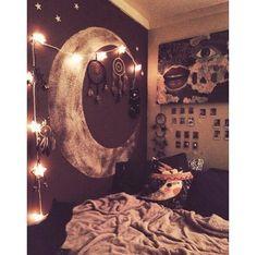 Image via We Heart It #bed #bedroom #lights #moon #room #space