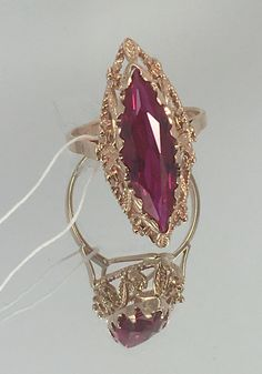 "Vintage Soviet gold Ring ""Marquise"" with ruby made of rose gold, 583 samples, USSR Gold Ring Designs, Gold Earrings Designs, Gold Jewellery Design, Hand Jewelry, Jewelry Art, Antique Jewelry, Stylish Jewelry, Fashion Jewelry, Bridal Jewelry"