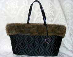 Nine West Black Quilted Purse, Handbag with Faux Fur Piping