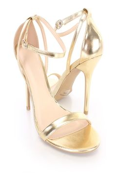 Gold Ankle Strap Single Sole Heels Faux Leather. High Heel PumpsStiletto ... dd7a733ab7f2