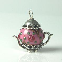 Raised Pink Czech Bead Teapot Charm