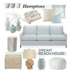 Hamptons Dream Beach House by coastal-style on Polyvore featuring interior interiors interior design home home decor interior decorating Williams-Sonoma Serena & Lily Pottery Barn and Crate and Barrel