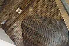 Pine Tongue and Groove Vaulted Ceiling Finished with Dark Stain Porch Ceiling, Ceiling Beams, Ceilings, Stain On Pine, Wood Stain, Vaulted Living Rooms, Tongue And Groove Ceiling, Dark Stains, River House