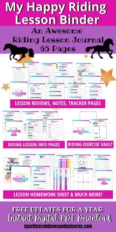 The Happy Riding Lesbson Binder is a comprehensive riding lesson journal. There are over 60 different printable pages to choose from. Customize your riding lesson journal with the pages that are relevant to you. Get the most out of your riding lessons by looking back over what you learned and worked on in your lessons. Feel encouraged by seeing the progress you make. Click the link to see the full list of pages available in this printable binder. #horsebackriding #horseriding #horseridingjournal Horseback Riding Tips, Horse Riding Tips, Homework Sheet, Equestrian Gifts, Riding Lessons, Baby Horses, Gifts For Horse Lovers, Horse Training, Horse Care