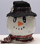 Light-Up Snowman Craft {original directions ~ use LED candle instead of string lights if for centerpieces}
