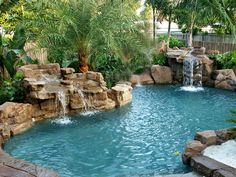 Gorgeous Mediterranean Swimming Pool Designs Out Of Your Dream 08 - Piscina Swimming Pool Waterfall, Swimming Pools Backyard, Swimming Pool Designs, Pool Landscaping, Backyard Pool Designs, Rock Waterfall, Lap Pools, Indoor Pools, Rock Pools
