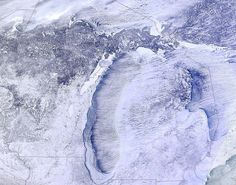 January 2014 - The Great Lakes have surged to 62 percent ice coverage due to extreme cold, and in the weeks ahead that can have a triple-barreled consequence on Michigan's weather: More cold. Less lake-effect snow. More sun. Miss Michigan, Michigan Travel, State Of Michigan, University Of Michigan, Northern Michigan, Lake Michigan, State University, Michigan Accent, Michigan Facts