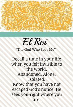 "El Roi | El Roi- ""The God Who Sees Me"""