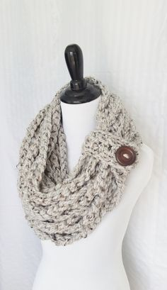 Chunky Rope Scarf, Black Friday Sale, Infinity Scarf, Gifts for Her, Chain Scarf, Gift for Her, Chirstmas Gift, Holiday Gift, Soft, Gray