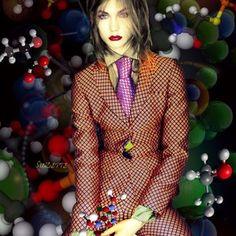by allthingssuzette - Fashion Chemistry.  #collage  #digital  #art  #vogue  #UK #2012 #photo #nick #knight #model  #karlie #kloss #chemical #bonds #molecules #covalent #fashion #leonardo #bazaart #Suzette