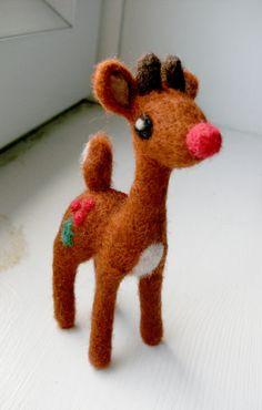 Needle Felted Rudolph Reindeer par FeltTree sur Etsy