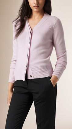 Pale orchid Cropped Cashmere Cardigan 750.
