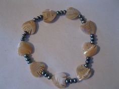 Bracelet: Mother of Pearl fish with pearls