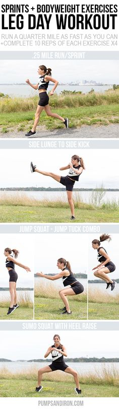 This leg workout mixes sprints with bodyweight exercises. Perfect for doing outside or at the gym! Wearing Finish Line Leg Day Workouts, Fun Workouts, Running Workouts, Best Abdominal Exercises, Weight Exercises, Workout Mix, Workout Routines For Women, Body Weight Training, Jump Squats