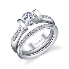 Gelin Abaci Tension Set Engagement Ring Style# TR-238 with accompanying wedding ring set in Platinum or Gold at NGY Jewelry, Orange, CA   http://www.newweddingrings.com/