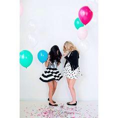 """""""Bright colours, balloons & confetti. We like to have fun around here!   #confettiandco #fancyfrillballoons #balloons #POPconfetti #party #partyskirts"""""""