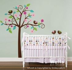 Whimsical Flower Tree with Love Birds  Nursery by smileywalls, $89.00  I need a tree or two for my nursery.
