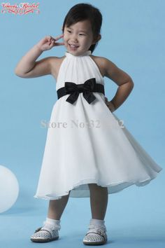 9ec2c348c90 2015 White Little Girls Pageant Dresses High Neck Sleeveless Ball Gown  Flower Girl Dress With A Bow Free Shipping AJ01-in Flower Girl Dresses from  Weddings ...
