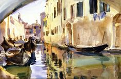 John Singer Sargent (1856 — 1925, USA) A Small Canal, Venice. c. 1904  watercolor. 29.2 x 44.5 cm.