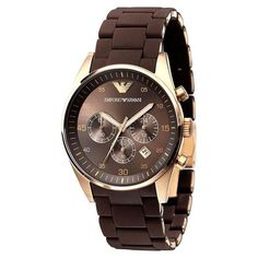 Emporio Armani Men's Sport Sport Silicone covered Stainless Steel Watch, 43mm, Brown