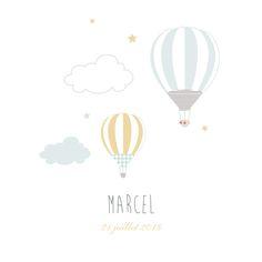 L'illustration fine et délicate de deux montgolfières qui décollent vers le ciel est une image poétique et douce qui accompagnera ...