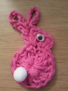Baby bunny. H hook, cotton yarn.  •Ch 4, sl st to join. •Ch 3 up. •13 dc more in ring. •Sl st to join in top of ch 3. (Body done)  •ch 1 up •2 hdc  in same stitch •3 dc in next stitch (head and nose done)  •Ch 8, sl st to join ear loop •Ch 8 again for 2nd ear. Sl st to join.   •Tie of yarn and weave in.  •Add pom ball and google eye or use button and cotton.  •Make into fridgie or a lapel pin.
