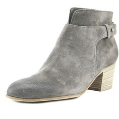 Vince Harriet Women Round Toe Suede Gray Bootie ($95) ❤ liked on Polyvore featuring shoes, boots, ankle booties, ankle boots, grey, grey short boots, gray ankle boots, gray bootie, grey suede bootie and gray short boots