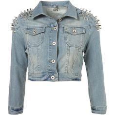 MOTO Shoulder Spike Jacket ($120) ❤ liked on Polyvore featuring outerwear, jackets, tops, denim, blue denim jacket, spiked jacket, blue jean jacket, studded denim jacket and spiked jean jacket