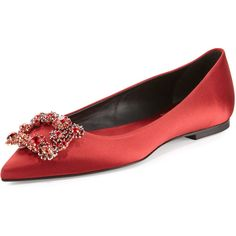 Roger Vivier Floral Strass Buckle Ballerina Flat (110.895 RUB) ❤ liked on Polyvore featuring shoes, flats, red, red flats, ballerina flat shoes, pointed toe ballet flats, ballet pumps and pointy-toe flats