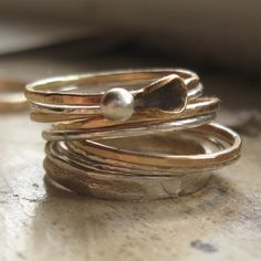 Mixed Metal Stacking Rings Gold and Silver by tinahdee on Etsy