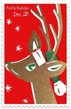 Send your letters to Santa at Reindeer speed with this faux postage stamp inspired by a vintage holiday matchbox cover. Norway Christmas, Christmas Deer, Vintage Christmas Cards, Retro Christmas, Vintage Holiday, Christmas Greetings, Christmas Time, Holiday Cards, Christmas Crafts