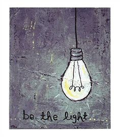 Be The Light - with Edison Light Bulb - Canvas Wall Decor 12-in