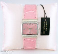 New Mary Kay Pink Watch Pink Faux Leather Band Rhinestone Bezel Pink Pillow SuzePlace.com