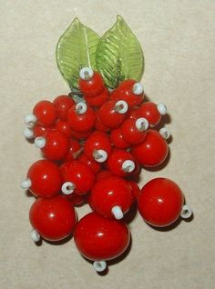 Early Miriam Haskell Berries Red Glass Beads Green Leaves Dress Clip | eBay