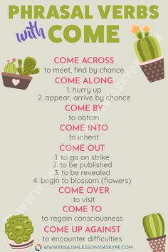to use Phrasal Verbs with COME English Phrasal Verbs with Come. Easy Way to improve English speaking skills.English Phrasal Verbs with Come. Easy Way to improve English speaking skills. English Vinglish, Learn English Grammar, English Writing Skills, English Vocabulary Words, Learn English Words, English Idioms, English Phrases, English Language Learning, English Lessons