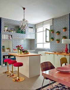 blue kitchen + mosaics