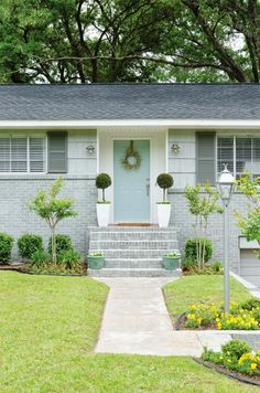 Pretty, Newly Landscaped Front Yard with Turquoise Front Door