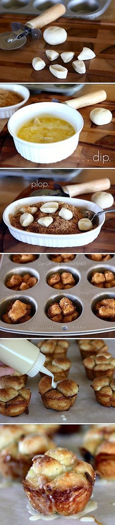 "Mini Cinnamon Monkey Rolls -- Good Idea for Xmas morning!! ""Moms Monkey Bread Recipe"" but put them into cupcake tins!!"